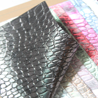 multi colour reflective glossy leather crocodile embossed pattern pu artificial leather for bags shoes and decrative