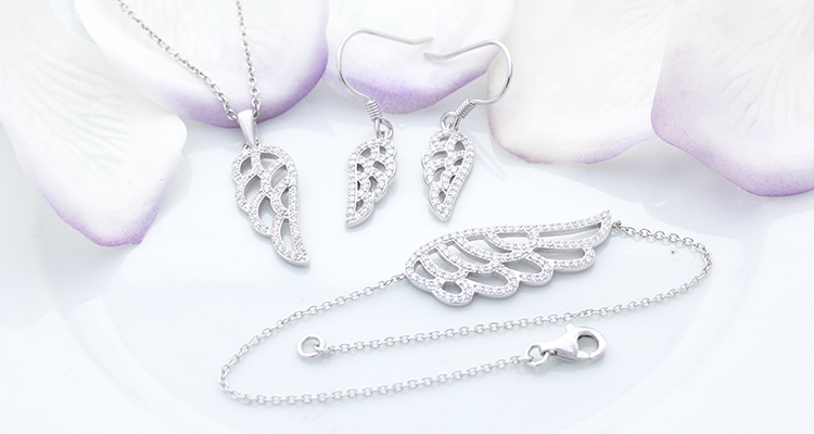 Alibaba 2017 New Stylish 925 Silver Angle Wing Pendant Jewelry Set, Elegant Earrings Ladies Jewelry Set