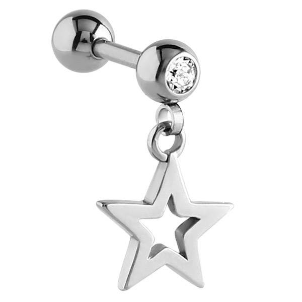 Surgical Steel Star Dangle Charm Cartilage Helix Tragus Bar
