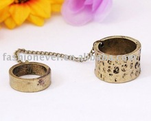 Two Finger Ring With Chain Vintage Double Finger Metal Rings Jewelry
