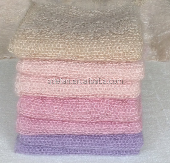 Custom hand knitted baby wrap newborn baby photo prop blanket Mohair blanket