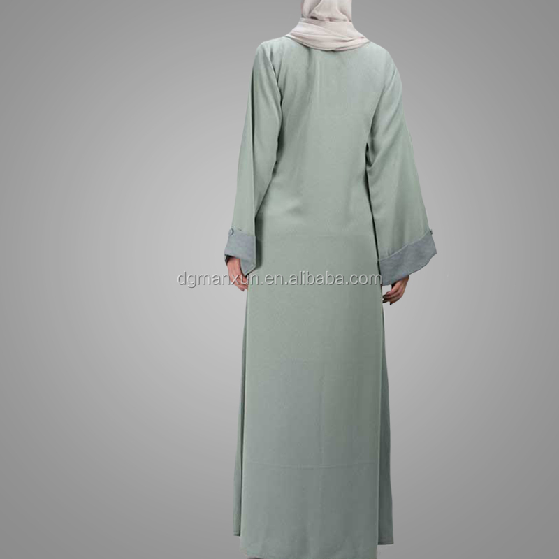 Front Buttons Design Dubai Abaya Plus Size Light Green Cardigan Clothing High Quality Crepe Fabric Muslim Women Abaya