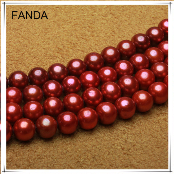 Red round pearl strands/cultured pearl strands/river pearl necklace strand
