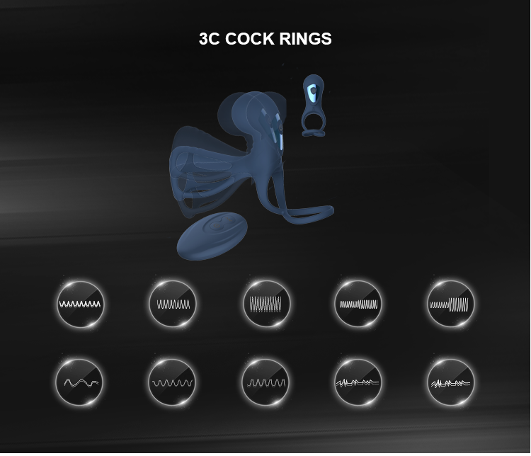 Silicone Goat Eye Male Cock Ball Vibrating Rings Sex Toys