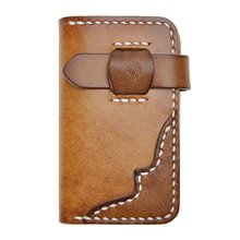 Vintage -Handmade -Vegetable -Tanned- Leather- brown Key Wallet Card Holder Case fashion luxury