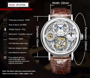 Luxury brand stainless steel automatic tourbillion men watch