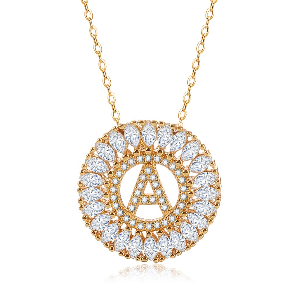 Hot Sale Plated 18K Gold Jewellery 26-character Zircon Jewelry Letter Necklace