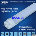 UL DLC listed 4ft t8 tube, t8 led tube 18 watt/ 4 foot led t8 tube light ballast by pass ballast compatible >105lm/w
