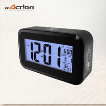 Snooze/Light Large LCD Digital Backlight Alarm Clock Power Bank with USB