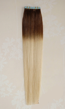 100% Real Remy Natural Human Hair Light Brown to Bleach Blonde Ombre Tape on Human Hair Extensions
