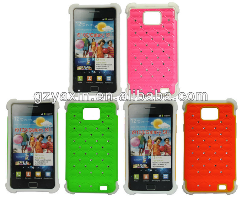 Cute cell phone case for samsung galaxy s2,Newest custom diamond case for samsung galaxy s2