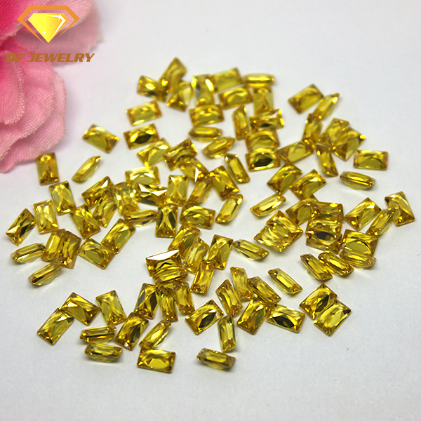 Synthetic Yellow Colored Gemstones Baguette Cut CZ