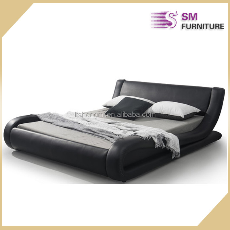 Hot sell new design italian modern design curve shape leather bed
