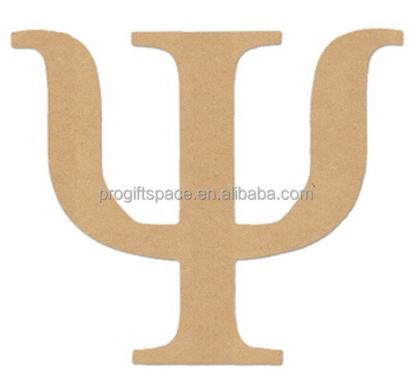 2017 New China wooden letter design hot sale wholesale fashion alphabet Psi decoration wood ornament laser cut greek products