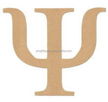 2018 New China wooden letter design hot sale wholesale fashion alphabet Psi decoration wood ornament laser cut greek products