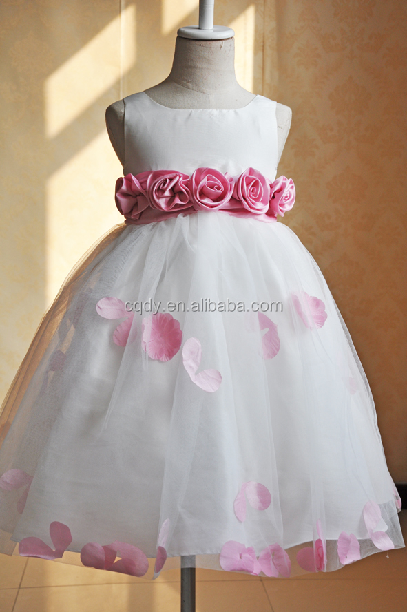 New Design White Princess Chiffon Girl Party Wear Western Dresses