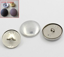 30 Sets Aluminum Tone Shank Wire Back Cover Metal Buttons 28x28mm 25x25mm