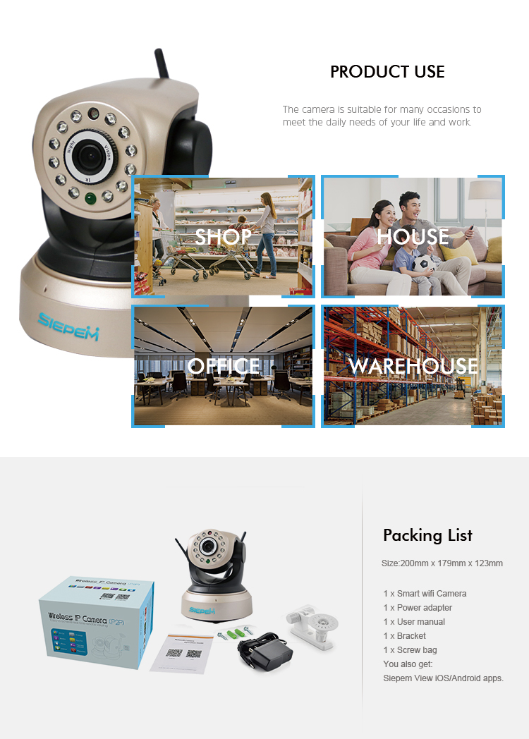Indoor wireless web night vision security pan tilt surveillance camera remote control