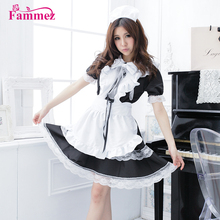 2018 sexy french maid kostum sissy maid gaun