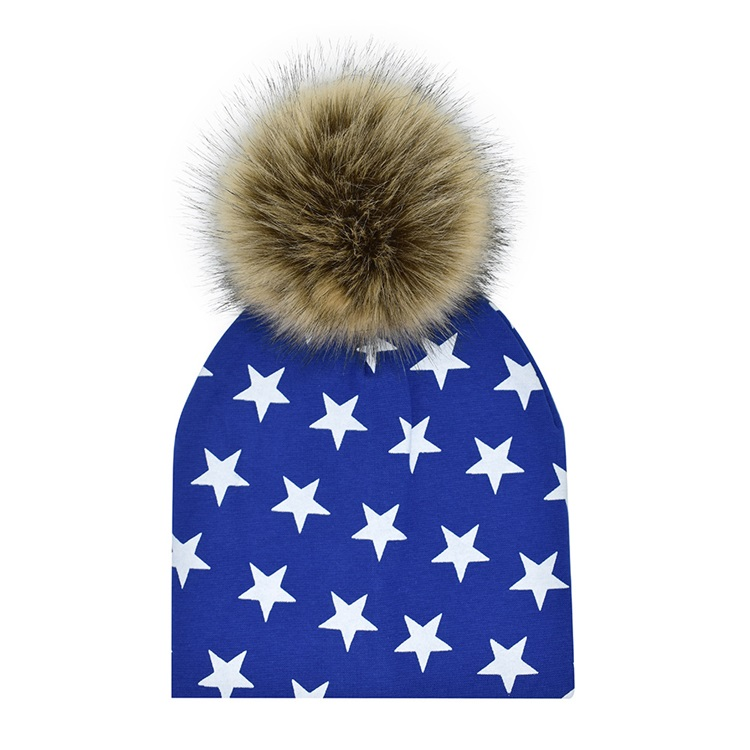 Factory New Solid Cotton Baby Hat With Faux Fur Pom Pom Hair Winter In Stock