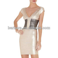 New arrival Sexy Trimmed Wholesale Printed Bandage Dress H439
