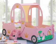 2017 Pink mystic and modern children crown car bed for children bedroom furniture