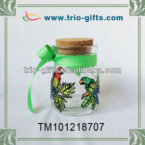 Decorative glass drifting bottle with parrot
