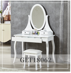 Solid wood bedroom furniture set with led light vanity makeup table
