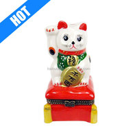 Japanese Lucky Welcome Cat Porcelain Hinged Trinket Box