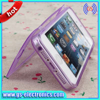 Hot selling transparent soft TPU touch screen flip cover for iphone 5 /5s