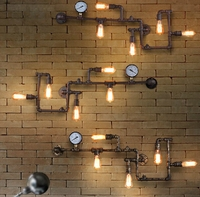 Modern industrial style lighting water pipe antique wall light