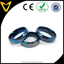 Blue artisan men ring D shape tungsten commitment ring custom D shape ring