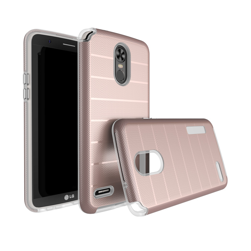 Hot selling texture tpu pc hybrid phone case for LG Stylo 3,2 in1 for LG <strong>K10</strong> Pro case,for LG Stylus 3 case cover