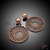 Particular design copper earrings iron wire twine earrings antique wheel copper earrings