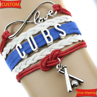Infinity Love CUBS baseball Sports college Team Bracelet blue red white Customize Sports friendship Bracelets High Quality drop