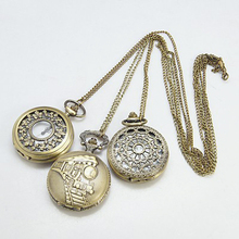 PandaHall Steampunk Pocket Timepiece Antique Pocket Watches Necklaces Mixed(WACH-G006-M3)
