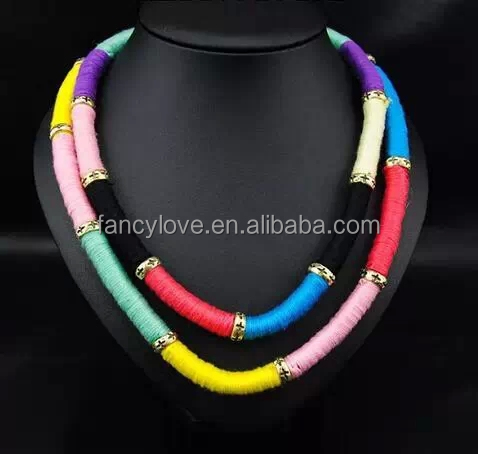 New Arrive Rainbow Knit Choker Rope Necklace Women Bib Braided Necklace