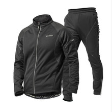 Mens warm thick fleece cycling tracksuit super warm winter reflective cycling jackets