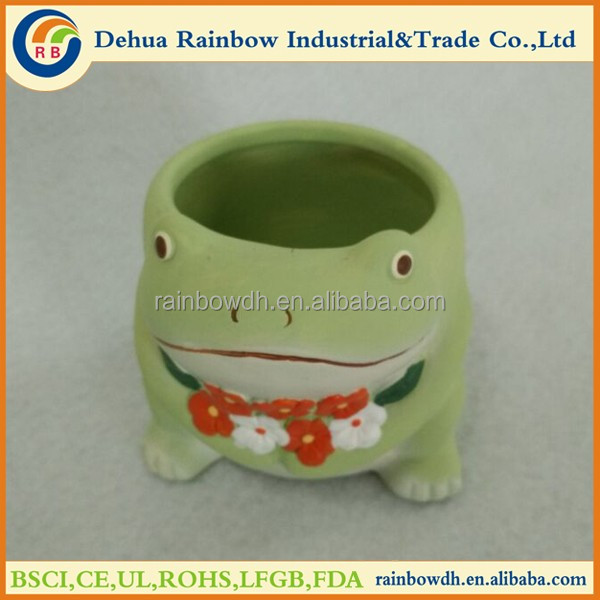 Beauty animal frog shaped ceramic plant flower pots