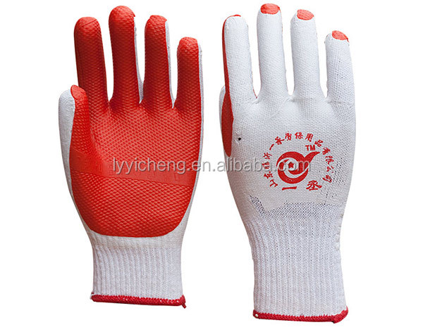 good quality latex rubber coated work gloves