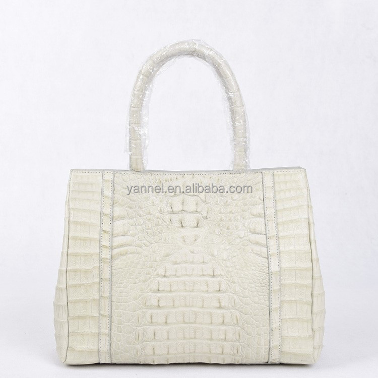 Genuine crocodile skin lady handbag,exotic skin lady shoulder bag#crocodile bag#crocodile tote bag#beige