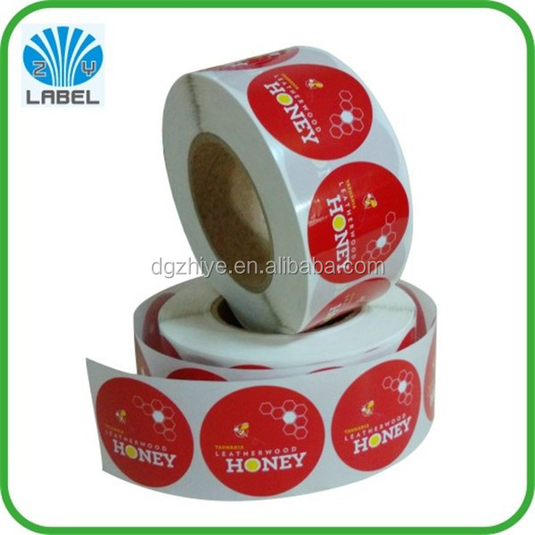 adhesive vinyl round sctickers with the glossy lamination honey lables