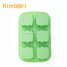 Eco-friendly six holes smile girl funny shape silicone cake mould