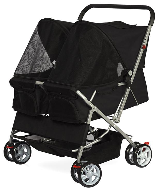 Pet Stroller 4-Wheel, Twin Carriage Black-1.jpg