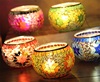 9*6cm 5 colors leaves hand held bowl mosaic glass candle holder hand blown bling candle holder