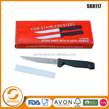 12pcs stainless steel high quality steak knife set in pp handle