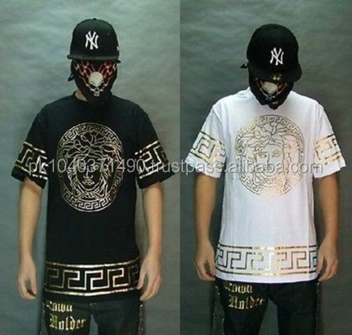 Bandana graffiti hip-hop men's sleeve t-shirt clothes casual man Short sleeve/Bandana Print Black White