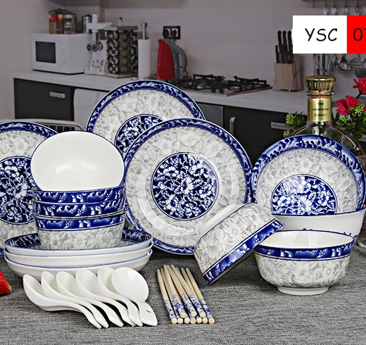 Chinese Elements Kitchenware Tableware Sets Bone China Porcelain Dinner Set for Sale