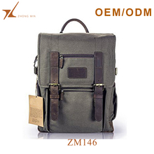 2017 custom trendy fashion canvas leather backpack dslr camera bag