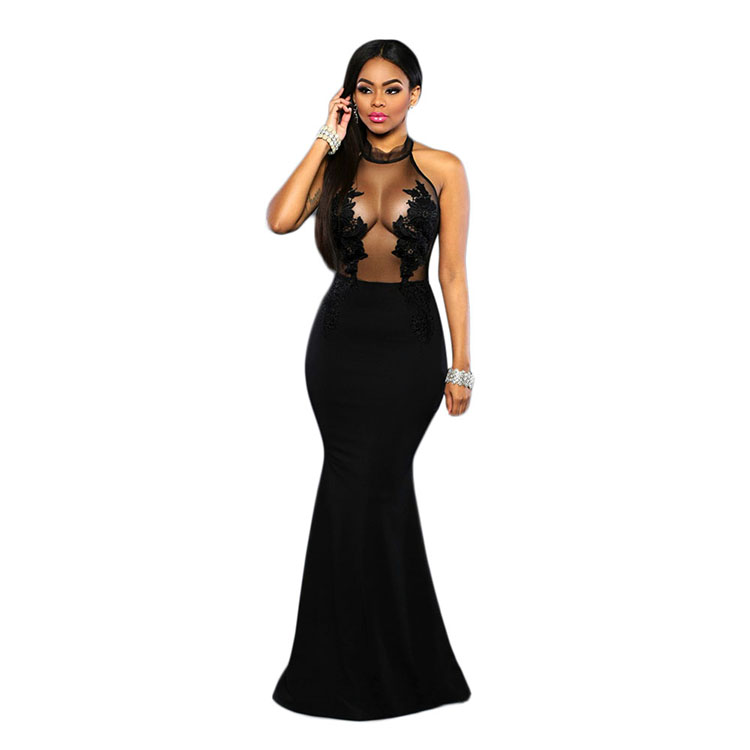 2017 Wholesale China Supplier black long evening gown dress